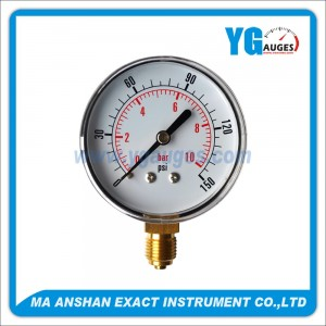Utility Pressure Gauge With Stainless Steel Case And Brass Internal,Bottom Connection