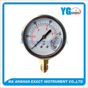 Liquid Filled Pressure Gauge,Bottom Connection
