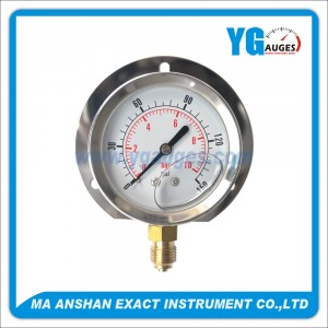 Liquid Filled Pressure Gauge,Bottom Connection,Bayonet Type With Back Flange