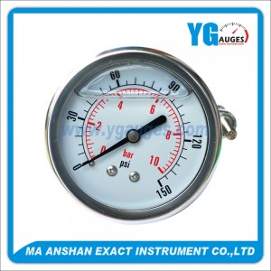 All S.S. Liquid Filled Pressure Gauge, Back Connection With U-Clamp