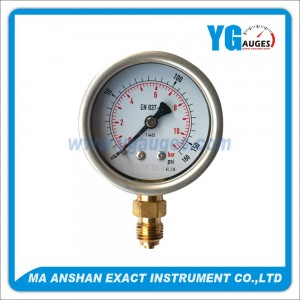 DIN Liquid Filled Pressure Gauge,Brass Bottom Connection