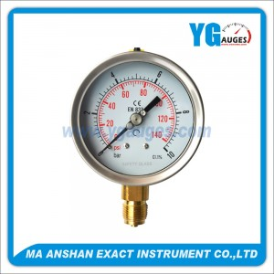 DIN Liquid Filled Pressure Gauge, One Body Brass Bottom Connection
