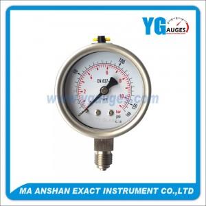 مقياس ضغط فولاذ مقاوم للصدأ نوع DIN معبأ سائل  , موصل سفلي