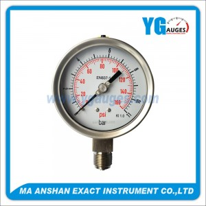DIN All SS Type Liquid Filled Pressure Gauge,Laser Wedling,Bottom Connection