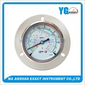 Liquid Filled Refrigeration Gauge Back Mount With Front Flange
