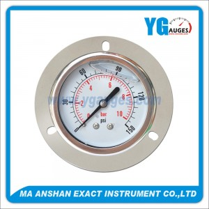 Liquid Filled Pressure Gauge,Back Connection,Bayonet Type With Front Flange