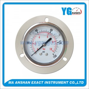 All S.S. Liquid Filled Pressure Gauge,Bayonet Type With Front Flange