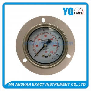 DIN All SS Type Pressure Gauge,Back Connection With Front Flange