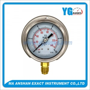 DIN Type Pressure Gauge, One Body Brass Bottom Connection With Back Flange