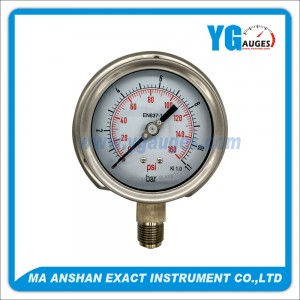 DIN All SS Type Pressure Gauge,Laser Wedling,Bottom Connection With Back Flange