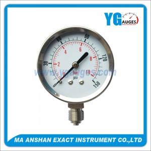 manómetro de utilidad con caja de full inox, conexión inferior