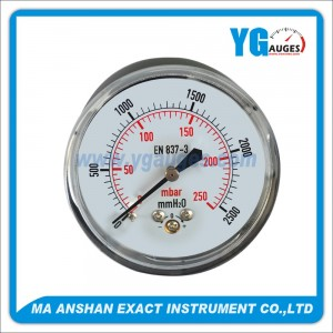indicador de presión baja, Caja de acero negro, conexión posterior