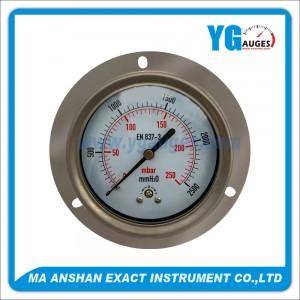 indicador de presión baja, todo en acero inoxidable, conexión posterior con brida delantera