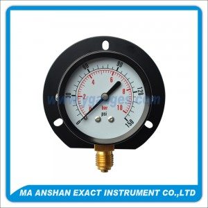 Utility Pressure Gauge With Black Steel Case And Back Flange
