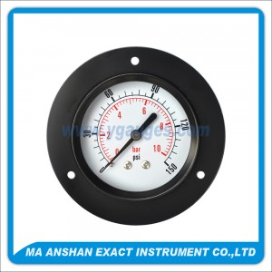 Utility Pressure Gauge With Black Steel Case And Front Flange
