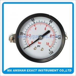 Utility Pressure Gauge With Black Steel Case And U Clamp
