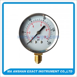 Utility Pressure Gauge With Stainless Steel Case And Bezel,Bottom Connection