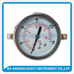 Liquid Filled Pressure Gauge,Back Connection,With U-Clamp