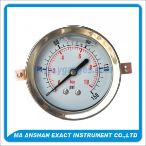 Liquid Filled Pressure Gauge,Back Connection,Bayonet Type With U-Clamp