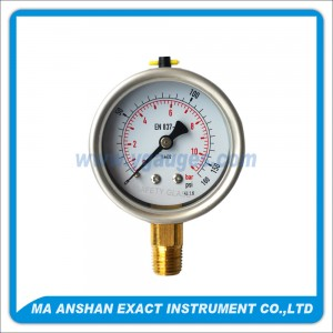 DIN Liquid Filled Pressure Gauge,One Body Type Brass Bottom Connection