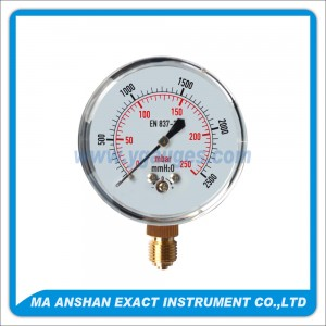 Low Pressure Gauge,Chrome Plated Case,Bottom Connection
