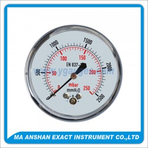 Low Pressure Gauge,Chrome Plated Case,Back Connection