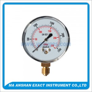Low Pressure Gauge,Stainless Steel Case,Bottom Connection