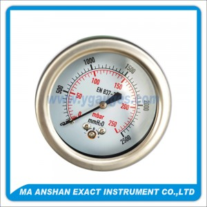Low Pressure Gauge,Stainless Steel Case Bayonet,Back Connection