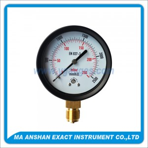 Low Pressure Gauge,Black Steel Case,Bottom Connection