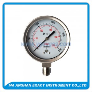 All SS Low Pressure Gauge, Bottom Connection