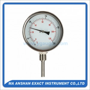 S.S. Bimetal Thermometer Bottom Mount, With S.S. Thermowell