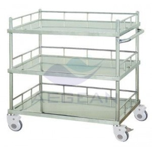 AG-SS022B with Three Shelves Crooked Handrail Treatment Firm Trolley