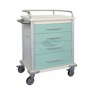 AG-MT027 With four drawers hospital metal frame resuscitation trolley