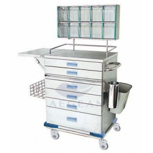 AG-AT015 With storage box hospital metal frame cheap lift trolley