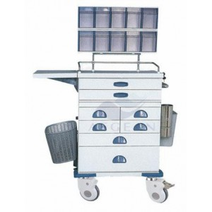 AG-AT016 CE ISO hospital metal frame with storage box resuscitation trolley cart