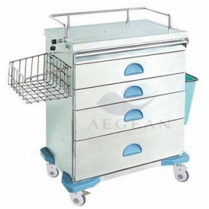 AG-AT019 CE approved hospital 304 stainless steel crash cart