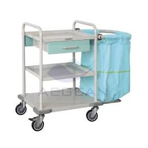 AG-SS017 With one dust bag hospital metal frame nursing cart