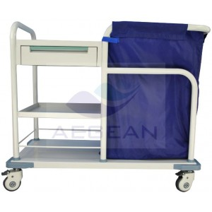 CE approved AG-SS017B stainless steel hospital linen trolley