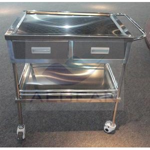 AG-SS046 With two drawers hospital stainless steel medical trolley