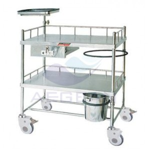 AG-SS052 Two layers hospital metal frame high quality laptop carts
