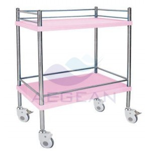 AG-SS053D With two layers hospital metal frame economic medical trolley