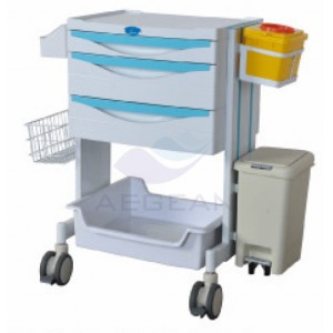 AG-MT014 Big size plastic material patient  treatment hospital trolley