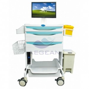 AG-MT014A CE ISO  hospital plastic computer trolley